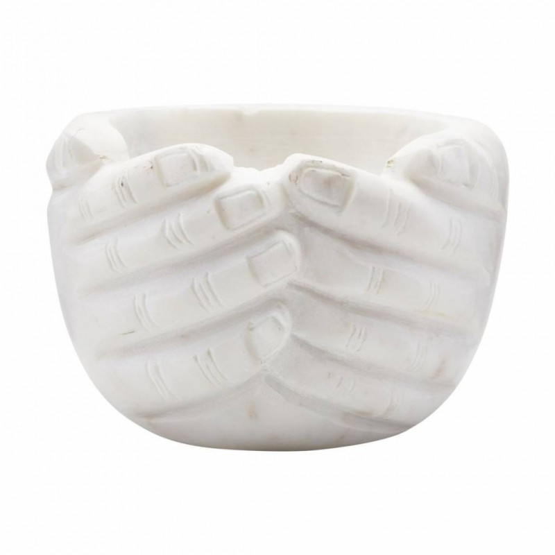 House Doctor Hands Bowl White Marble