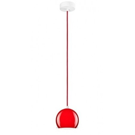 Myoo Red / White Hanging Lamp - Opal Glass