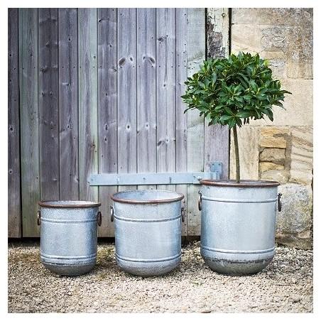 Garden Trading Set of 3 Malmesbury Planters in Galvanised Steel