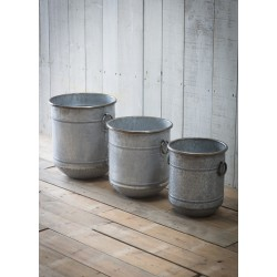 Garden Trading Set of 3 Malmesbury Planters in Galvanised Steel