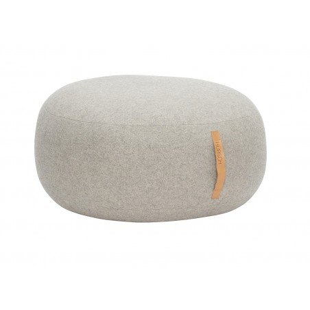 Hubsch Round Pouf in Grey Wool Mix | Leather handle