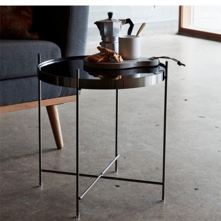 Hubsch Gun Metal Round Coffe Table With Mirror Top