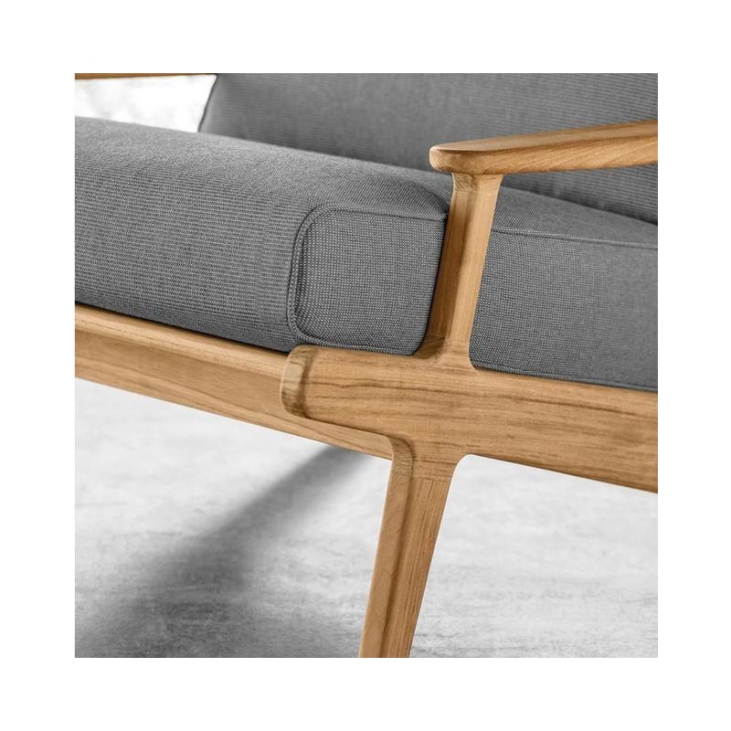 Gloster Bay 3 Seater Sofa Buffed Teak Seagull Granite