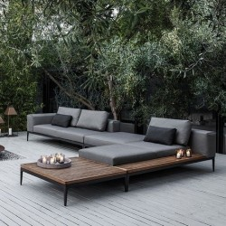 Gloster Grid Square Coffee Table Buffed Teak
