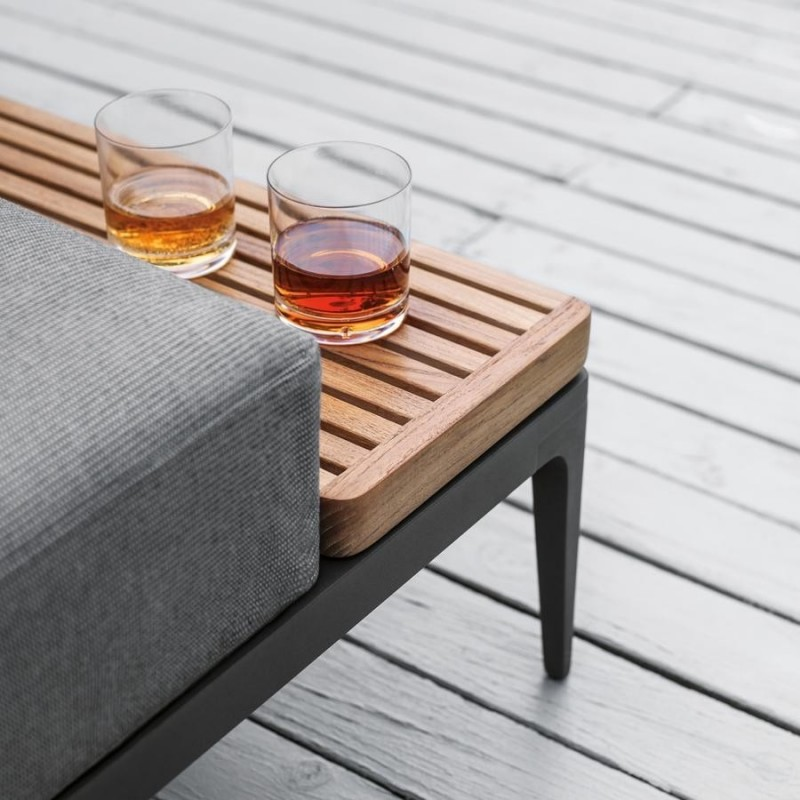 Gloster Grid Lounge Modular Left / Right End Table Unit - Buffed Teak
