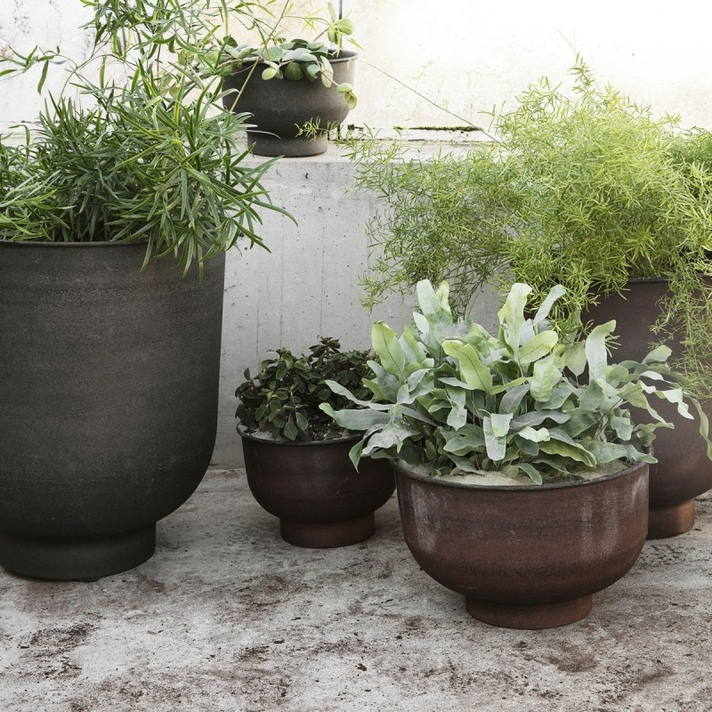 House Doctor Vig Low Planter Pots in Burnt Henna|Set of 2 Low Planter Pots