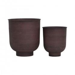 House Doctor Vig Planter Pots in Burnt Henna|Set of 2 Planter Pots