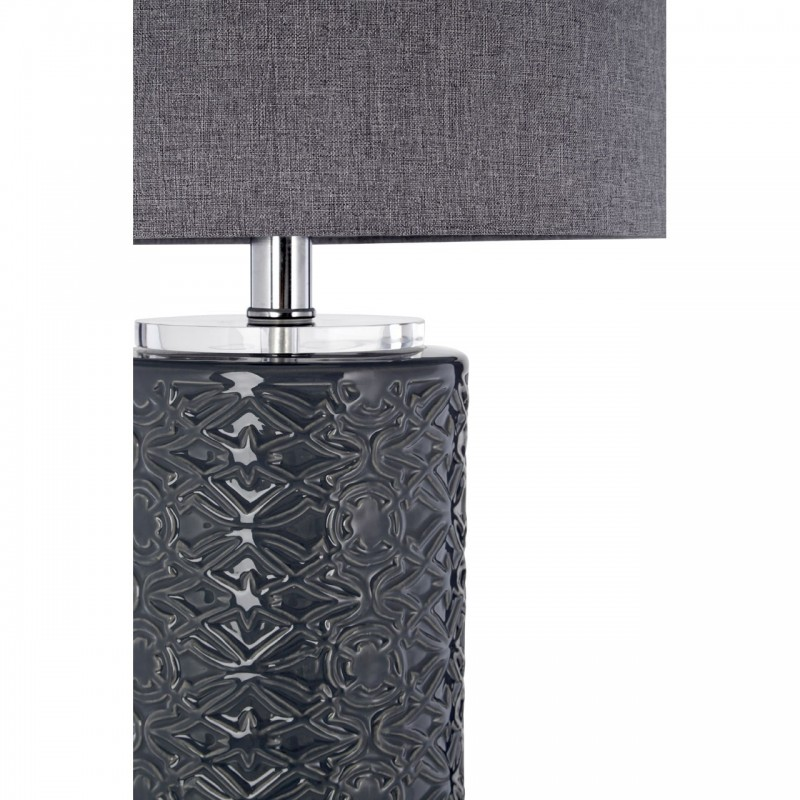 Grey Ceramic Table Lamp with Grey Linen Shade