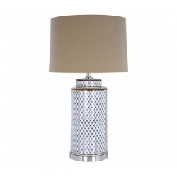 White Ceramic Table Lamp with Natural Linen Shade