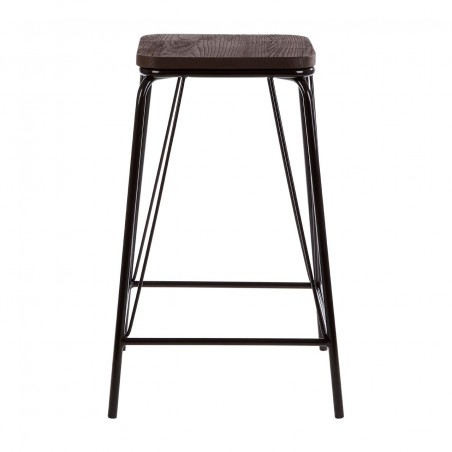 District Black Metal And Elm Wood Stool