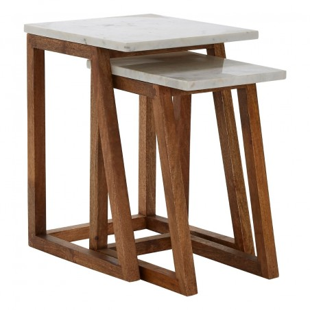 Mango Wood and White Marble Tables - Set Of 2