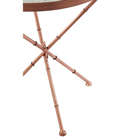Cross Leg Side Table in Copper Finish and Marble Top