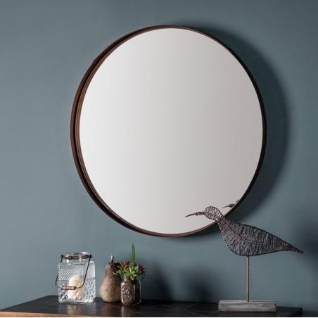 "Finesse Contemporary Slender Circular Bronze Mirror 33\\"""