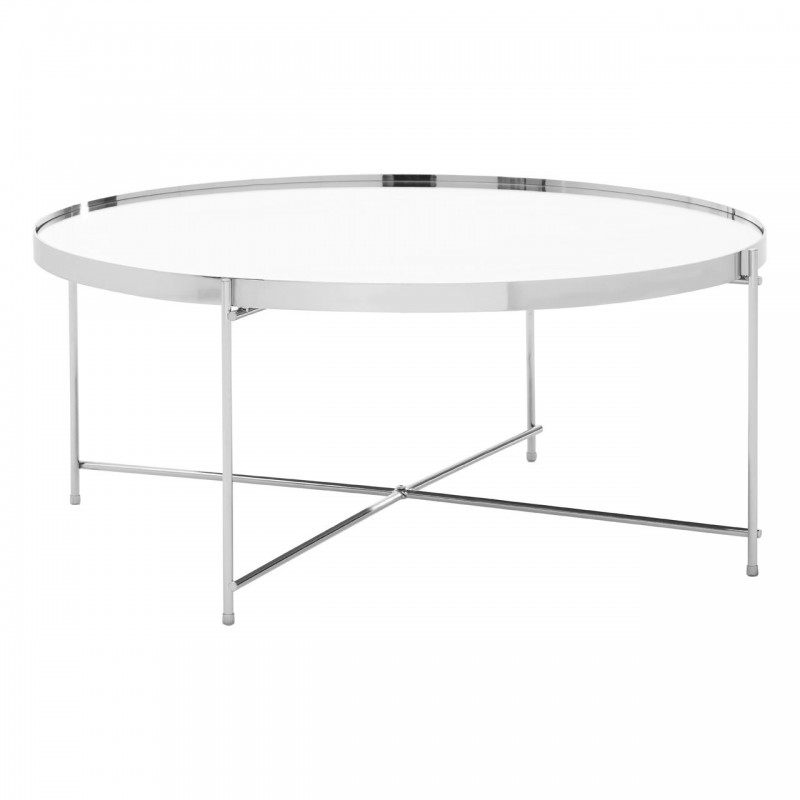 Silver Mirror Coffee Table with Chrome Base