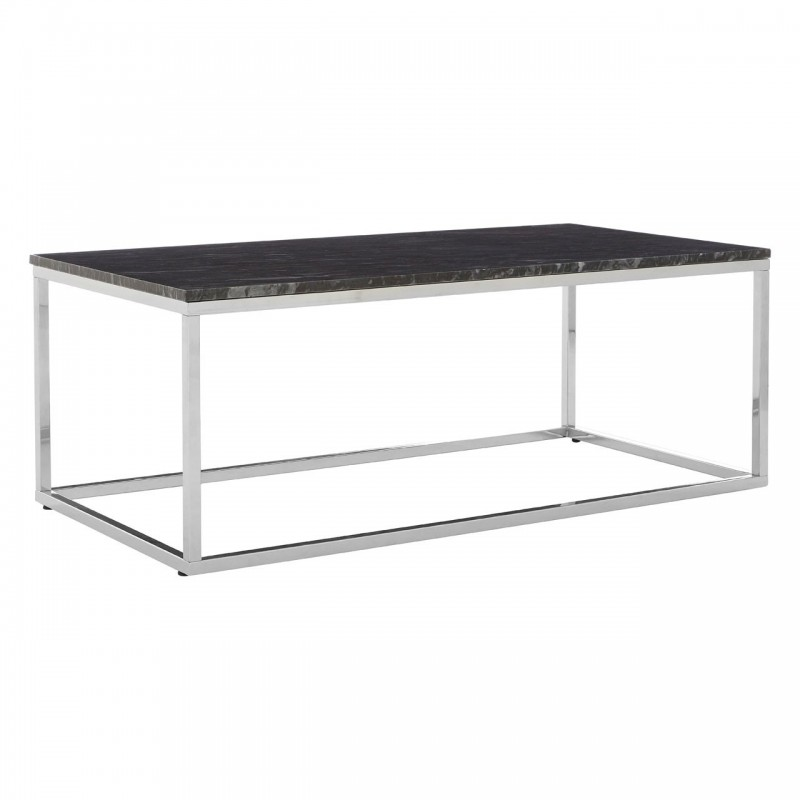 Rectangular Black Marble Coffee Table With Chrome Base