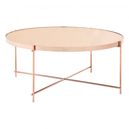 Pink Mirror Coffee Table With Rose Gold Metal