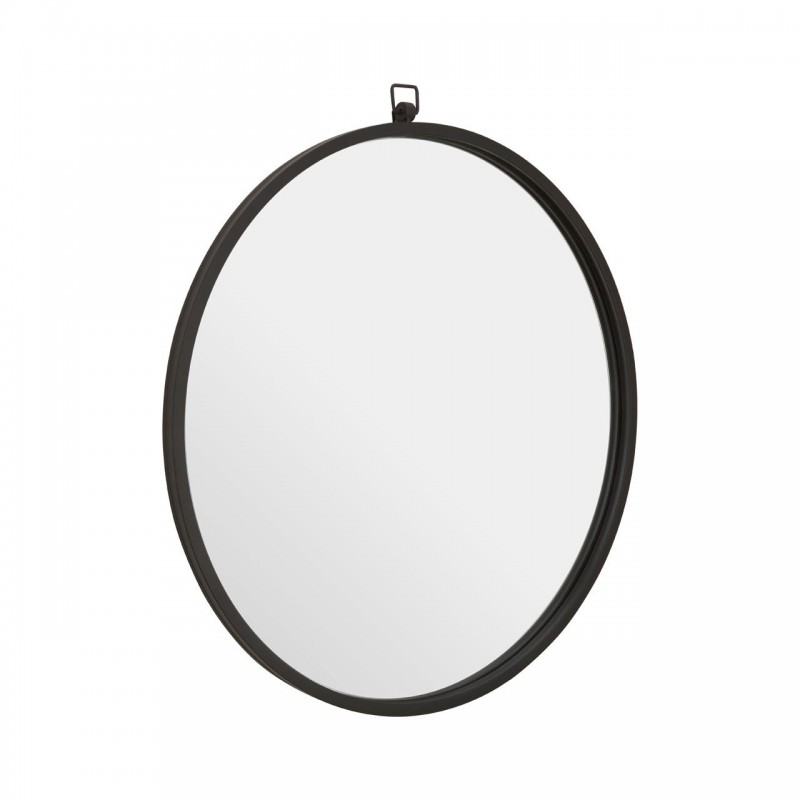 Round Wall Mirror with Black Metal Frame