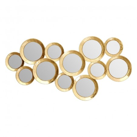 Multi Circle Wall Mirror in Gold Finish