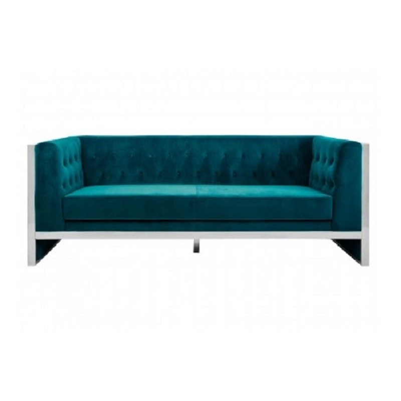 Vogue 3 Seat Sofa in Teal Velvet