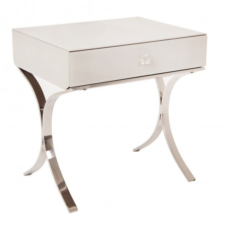 RV Astley Sovana Side Table Iced Ivory Glass