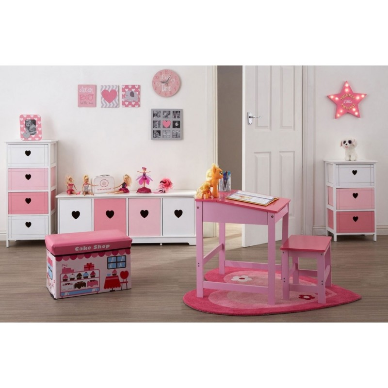 3 Drawer Wooden Chest in White and Pink