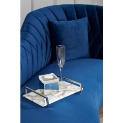 Rene Right Arm Chaise Longue in Dark Blue Velvet