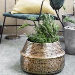 House Doctor Rattan Planter Brass Finish