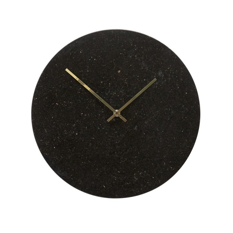 Hubsch Black Marble Wall Clock