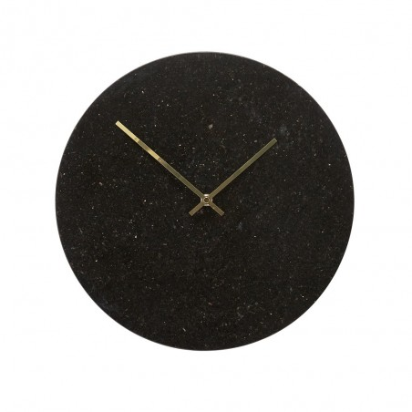Hubsch Wall Clock in Black Marble and Gold