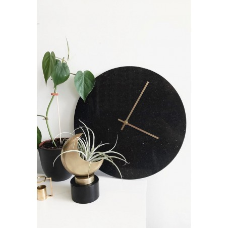 Hubsch Black Marble Wall Clock