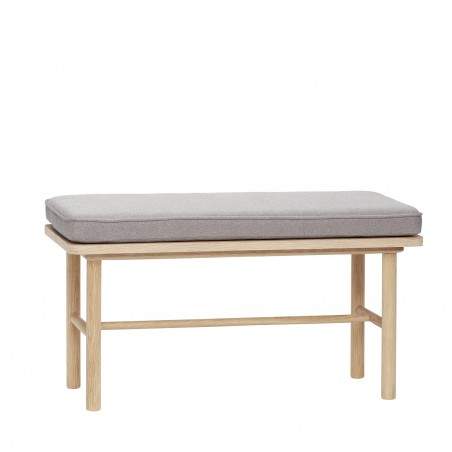 Hubsch Small Bench in Oak with Grey Cushion