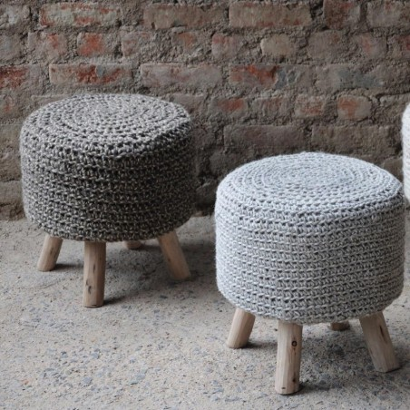 Nomad Grey Knitted Stool