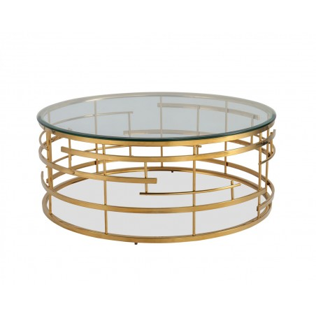 Liang & Eimil Viena Coffee Table|Glass Top Polished Brass Frame