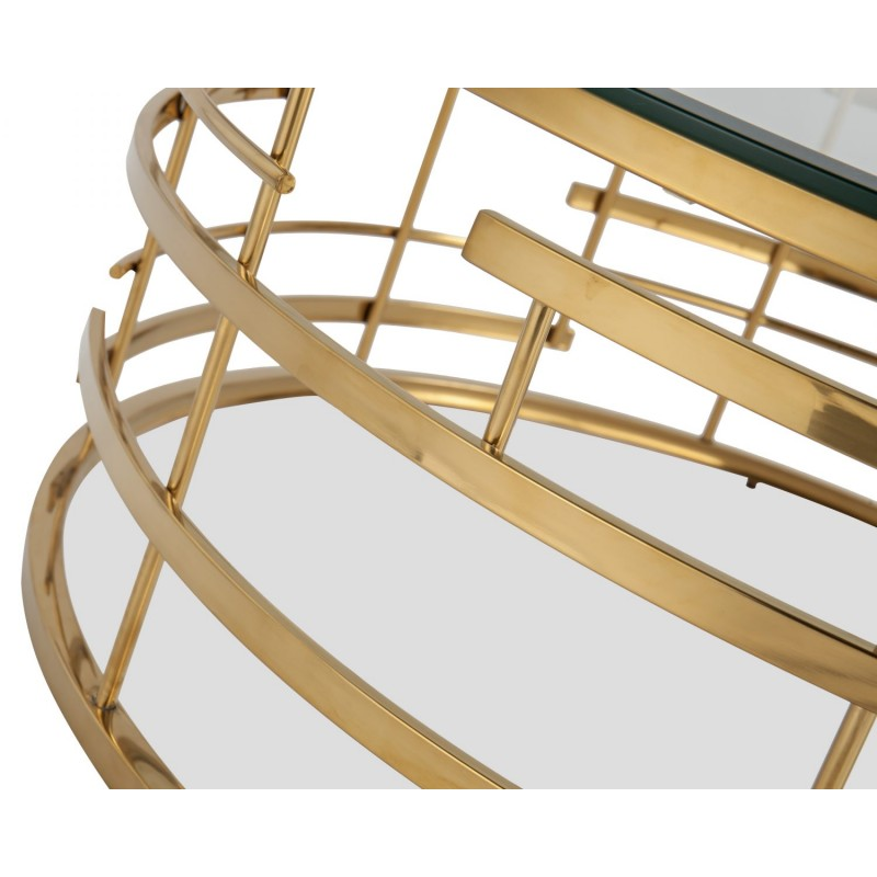 Liang & Eimil Viena Coffee Table Glass Top Polished Brass Frame
