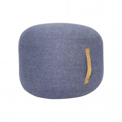 Hubsch Pouf In Herringbone wool | Blue