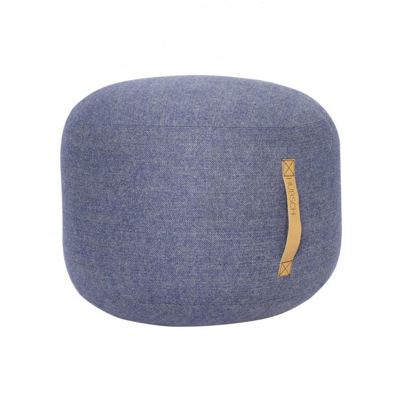 Hubsch Pouf In Herringbone wool | Blue