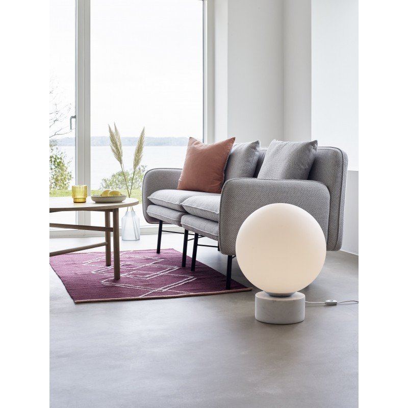 Hubsch Floor Lamp White Glass Sphere on White Marble