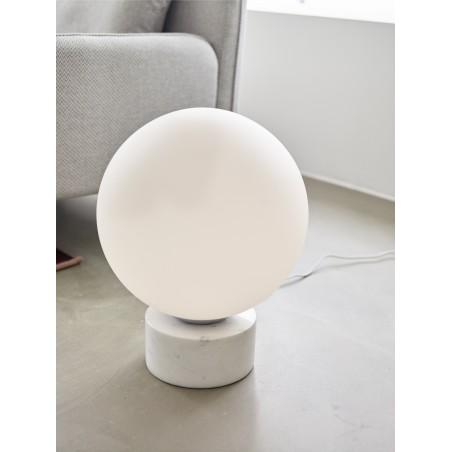 Hubsch Floor Lamp White Glass Sphere on White Marble