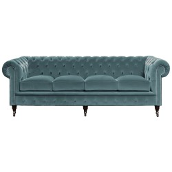 Padstow Blue Velvet Chesterfield Sofa