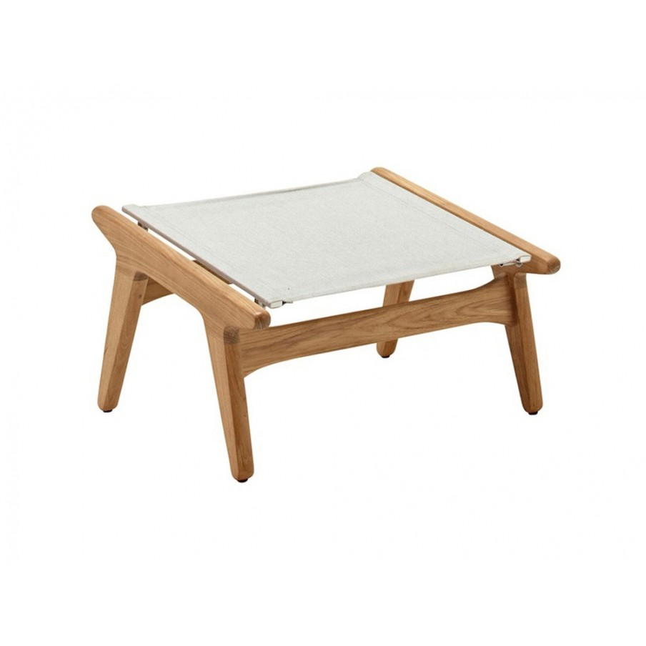 Gloster Bay Footstool|Buffed Teak|Seagull|Granite