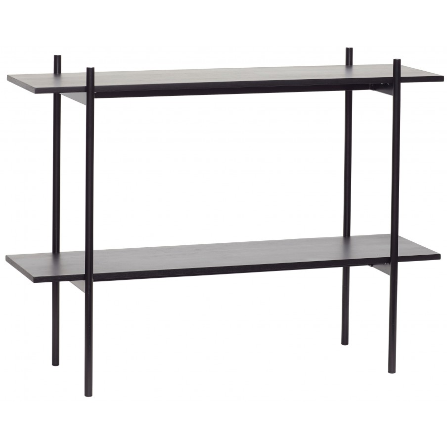 Husbsch Black Metal Console Table with 2 Shelves