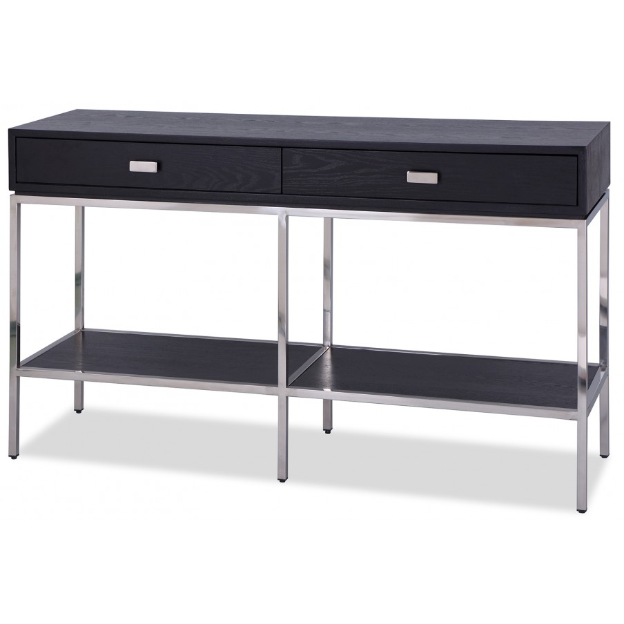 Liang & Eimil Levi Black Dressing Table - Polished Stainless Steel