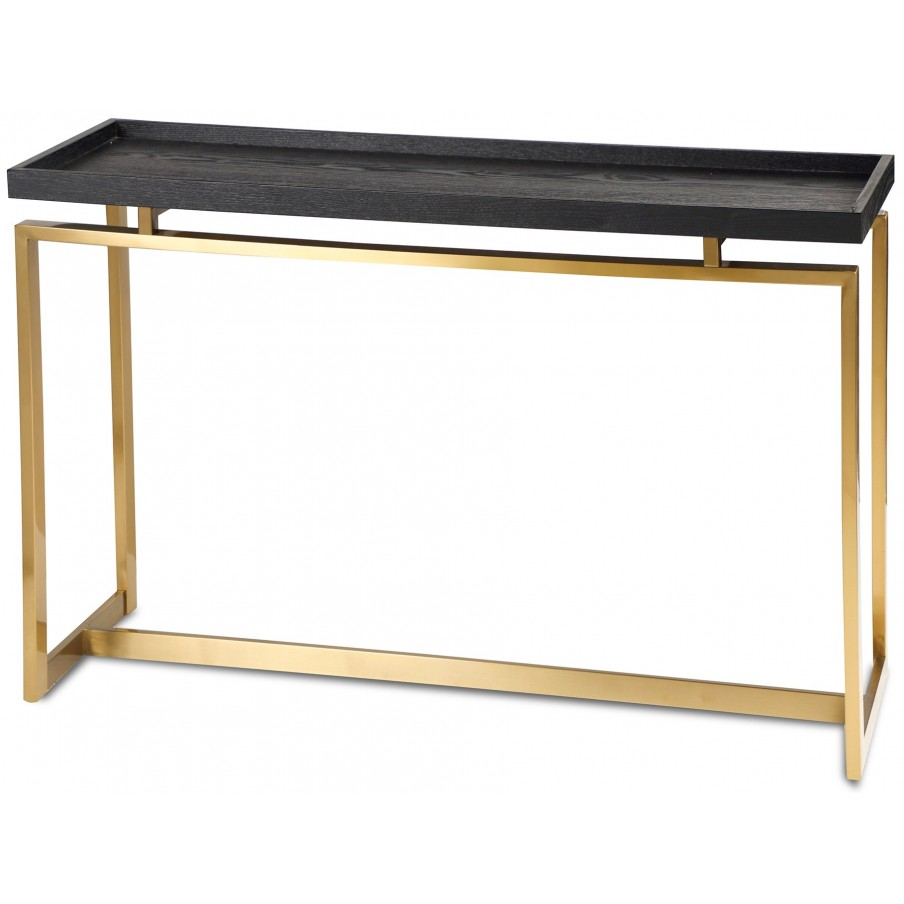 Liang & Eimil Malcom Black Ash Console Table - Brass