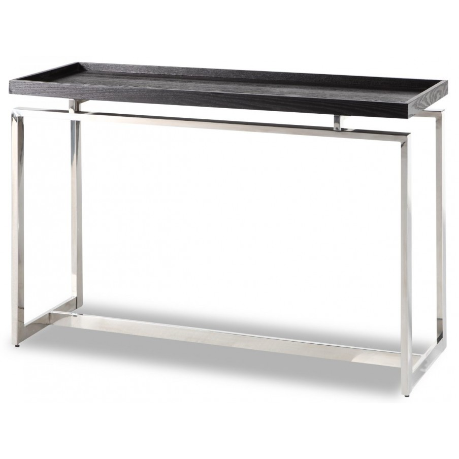 Liang & Eimil Malcom Black Ash Console Table - Stainless Steel