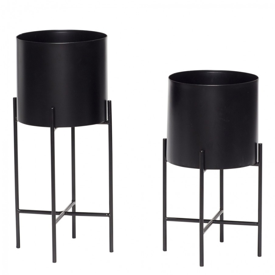 Hubsch Black Metal Planter With Legs | Set Of Two