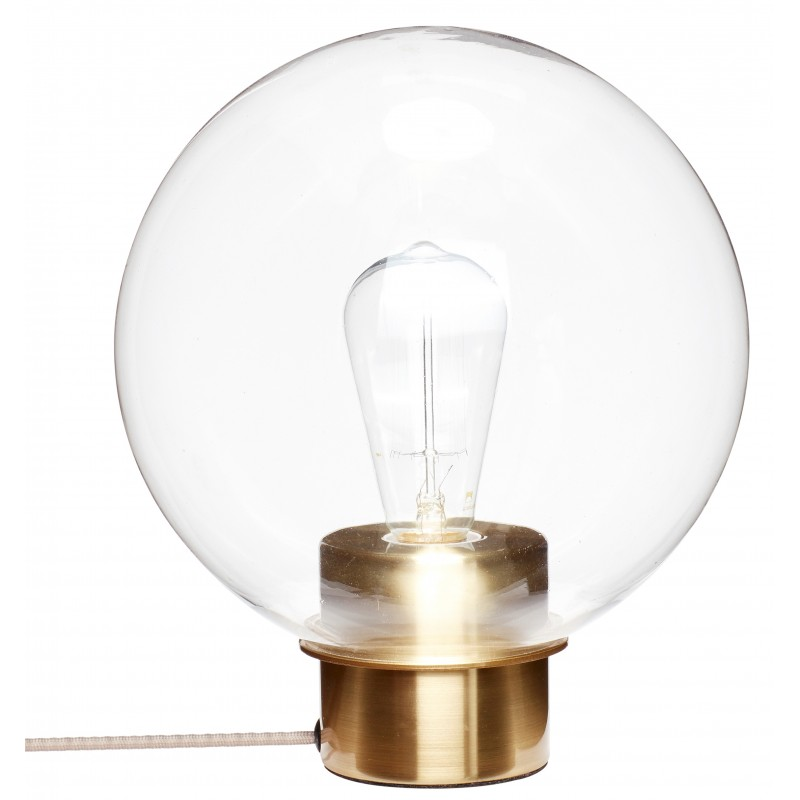Hubsch Brass Table Lamp with Glass Sphere