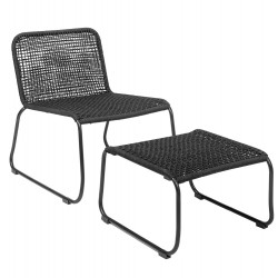 Bloomingville Mundo Lounge Chair With Stool Black