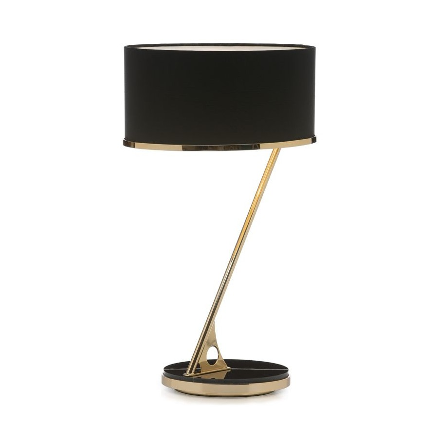 Villa Lumi Sundial Brass Marble Table Lamp