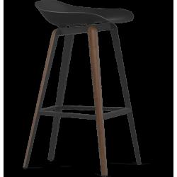 Kubikoff Walnut & Black Slice Base Barstool