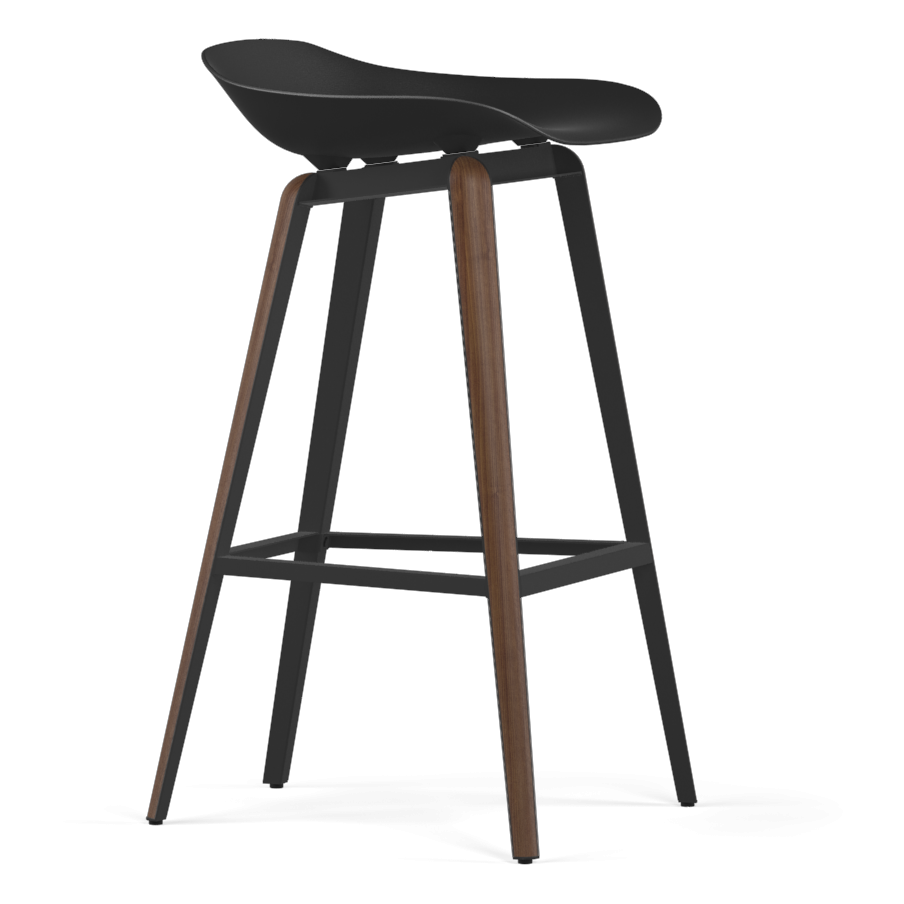 Kubikoff Walnut & Black Slice Base Barstool